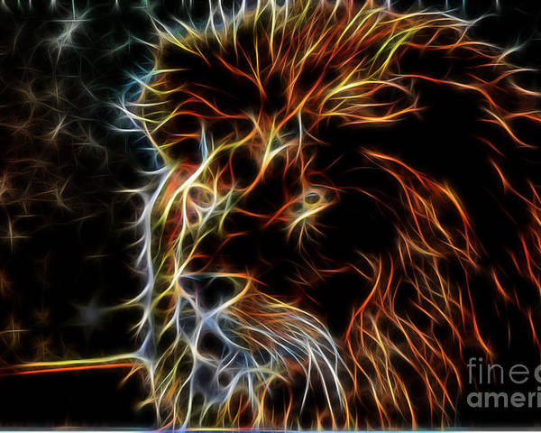 Lion Poster featuring the digital art Save Us Together by Sheila Lubeski