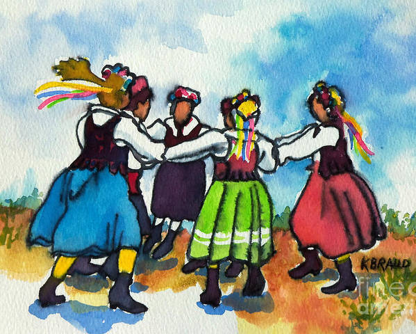 Paintings Poster featuring the painting Scandinavian Dancers by Kathy Braud