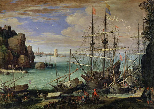 Scene Poster featuring the painting Scene Of A Sea Port by Paul Bril