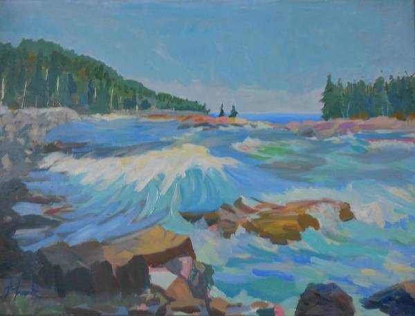 Landscape Poster featuring the painting Schoodic Inlet by Francine Frank
