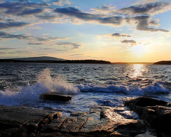 Sunset Poster featuring the photograph Schoodic Sunset by Scott Bricker