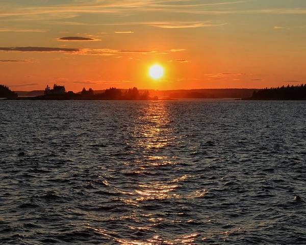 Maine Poster featuring the photograph Schoodic Sunset With Island Lighthouse by Scott Bricker
