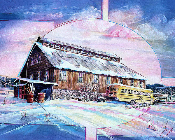 Bar Poster featuring the painting School Bus And Barn by Connie Williams