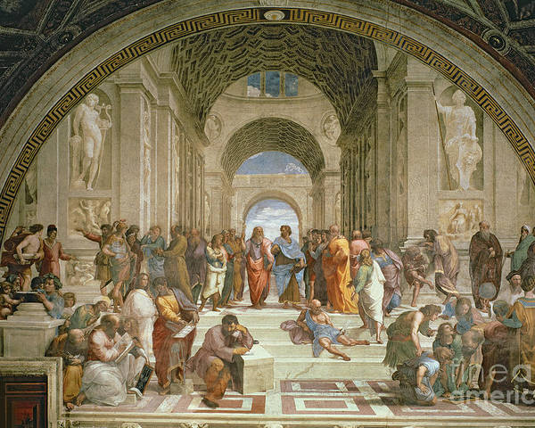 School Poster featuring the painting School Of Athens From The Stanza Della Segnatura by Raphael