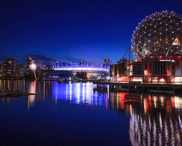 Vancouver Poster featuring the photograph Science World And Fireworks by Alan W