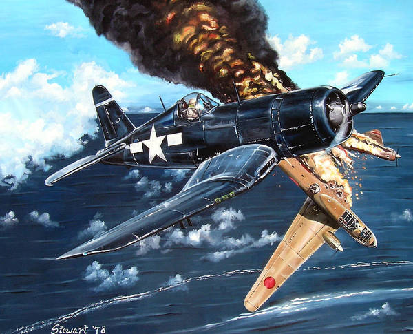Military Poster featuring the painting Scratch One Betty by Marc Stewart