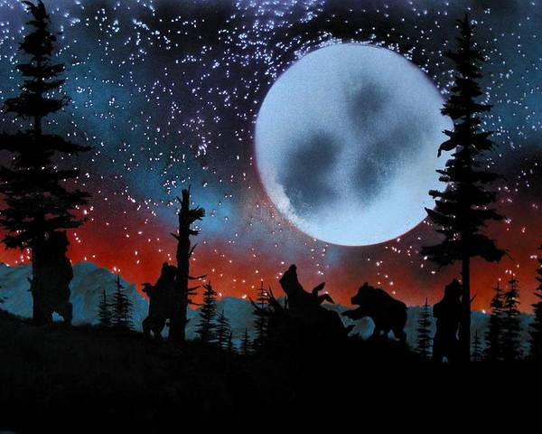 Bears Yellowstone Scratching Trees Moon Evening Landscape Poster featuring the painting Scratching The Itch by Ed Moore