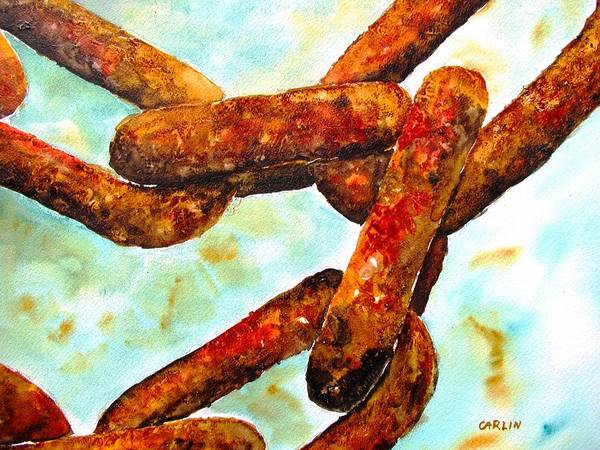 Chain Poster featuring the painting Sea Chain by Carlin Blahnik CarlinArtWatercolor