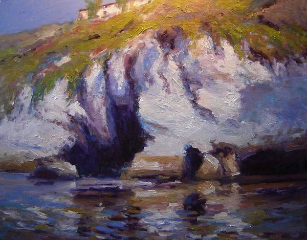 Sea Poster featuring the painting Sea Cliffs In Afternoon Light by R W Goetting