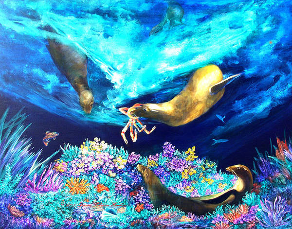 Ocean Poster featuring the painting Sea Garden by Dianne Roberson