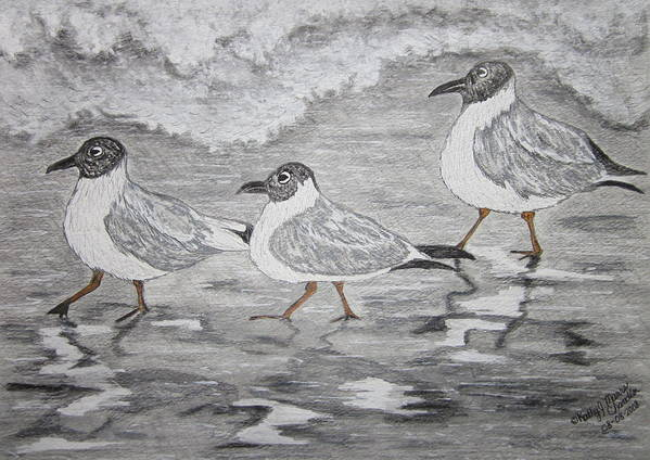 Sea Gulls Poster featuring the painting Sea Gulls Dodging The Ocean Waves by Kathy Marrs Chandler