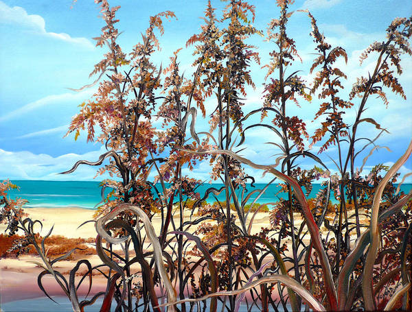 Ocean Painting Sea Oats Painting Beach Painting Seascape Painting Beach Painting Florida Painting Greeting Card Painting Poster featuring the painting Sea Oats by Karin Dawn Kelshall- Best