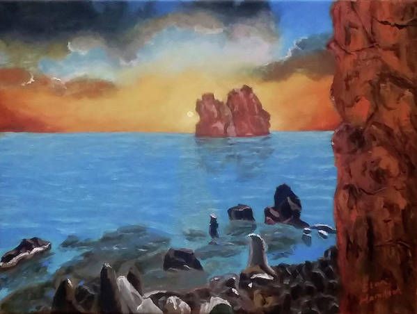 Sea Poster featuring the painting Sea Sunset by Stan Hamilton