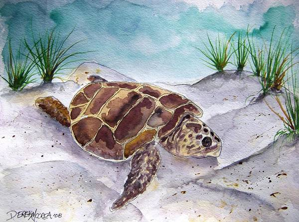 Sea Turtle Poster featuring the painting Sea Turtle 2 by Derek Mccrea