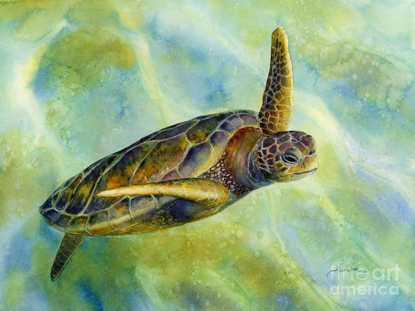 Underwater Poster featuring the painting Sea Turtle 2 by Hailey E Herrera