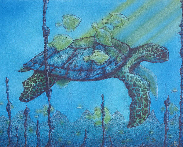 Turtles Poster featuring the painting Sea Turtle And Fish by Erik Loiselle