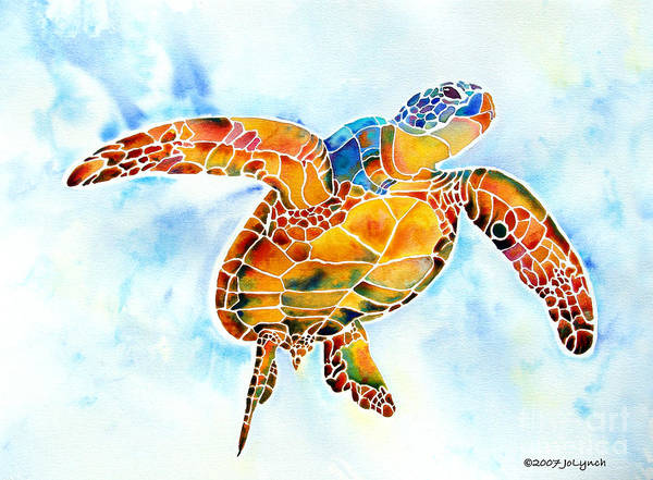 Sea Turtle Poster featuring the painting Sea Turtle Gentle Giant by Jo Lynch