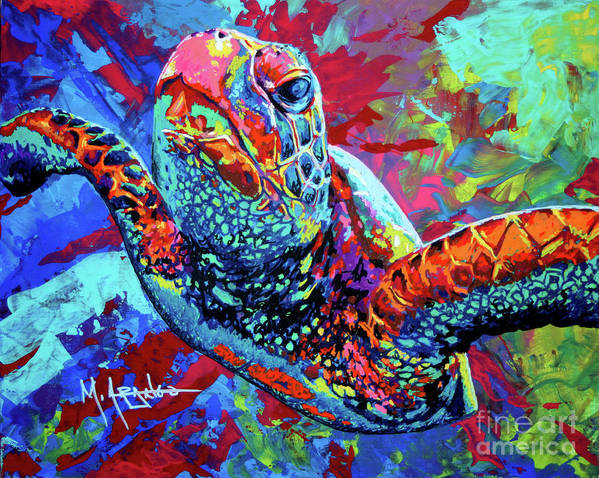 Sea Turtle Poster featuring the painting Sea Turtle by Maria Arango