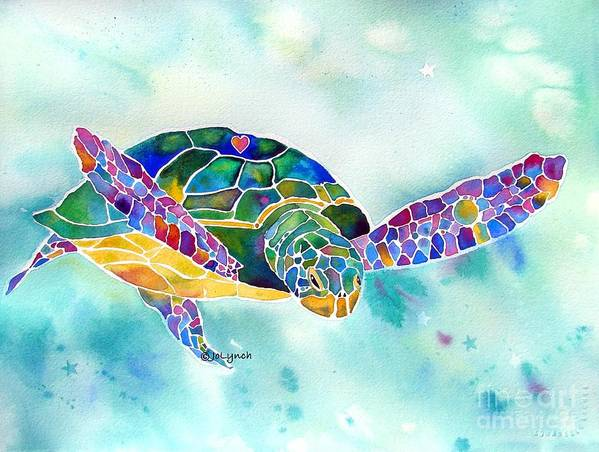 Sea Turtle Paintings Poster featuring the painting Sea Weed Sea Turtle by Jo Lynch