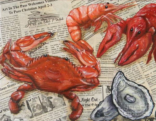 Crawfish Poster featuring the painting Seafood Special Edition by JoAnn Wheeler