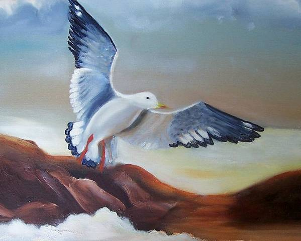 Birds Poster featuring the painting Seagull Landing by Martha Mullins