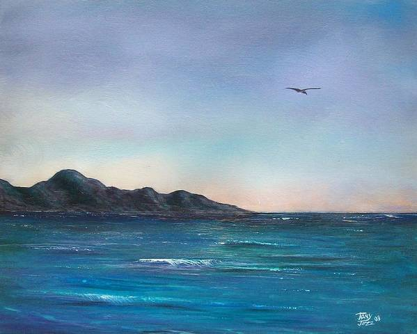 Seascapes. Seagull Poster featuring the painting Seagull Seascape by Tony Rodriguez