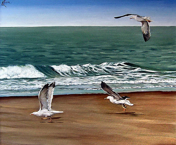 Seascape Poster featuring the painting Seagulls 2 by Natalia Tejera