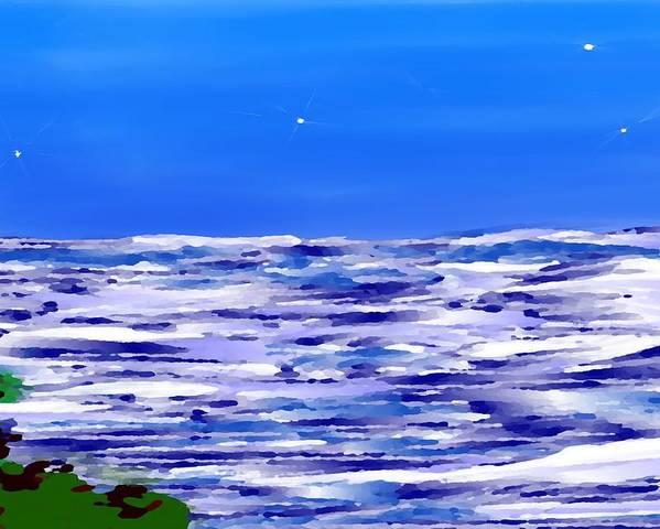 Sea.evening.night.silence.water.waves.deep Water.quiet .coast.sky.stars.calm.no Wind Poster featuring the digital art Sea.moon Light by Dr Loifer Vladimir