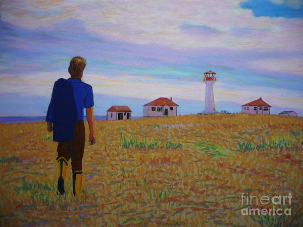 Lighthouses Poster featuring the pastel Sean's Visit To Cross Island Lighthouse by Rae Smith
