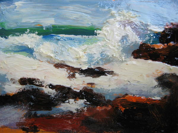 Seascape Poster featuring the painting Seascape Aceo by Susan Jenkins