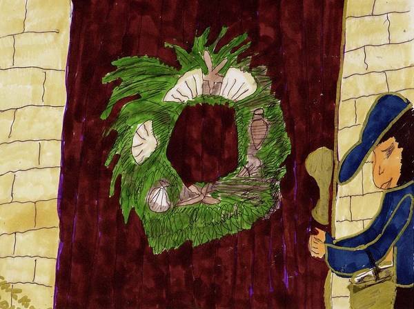 Seashell Wreathe On A Wooden Door Lady With A Bag Poster featuring the mixed media Seashell Wreathe by Elinor Helen Rakowski