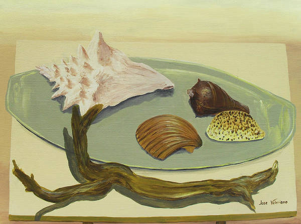 Acrylic Poster featuring the painting Seashells by M Valeriano