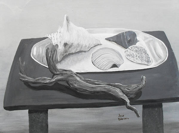 Acrylic Poster featuring the painting Seashells On Table by M Valeriano