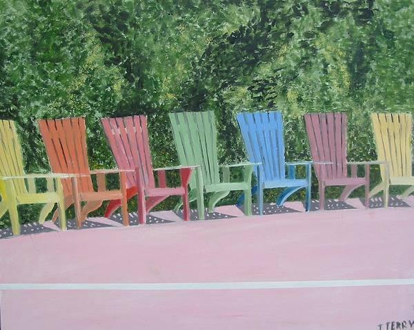 Seascape Poster featuring the painting Seaside Chairs by John Terry
