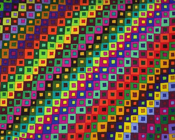 Abstract Pen Drawing Color Squares Rectangles Red Blue Purple Green Fun Contemporary Wall Art Op-art Poster featuring the drawing Seasons by Susan Epps Oliver