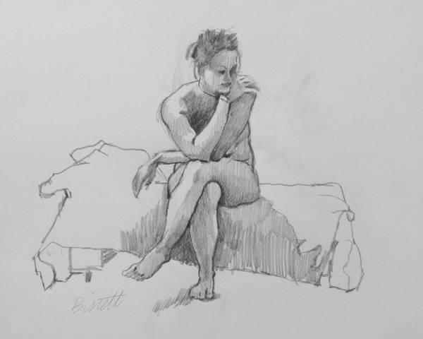 Life Poster featuring the drawing Seated Nude 2 by Robert Bissett