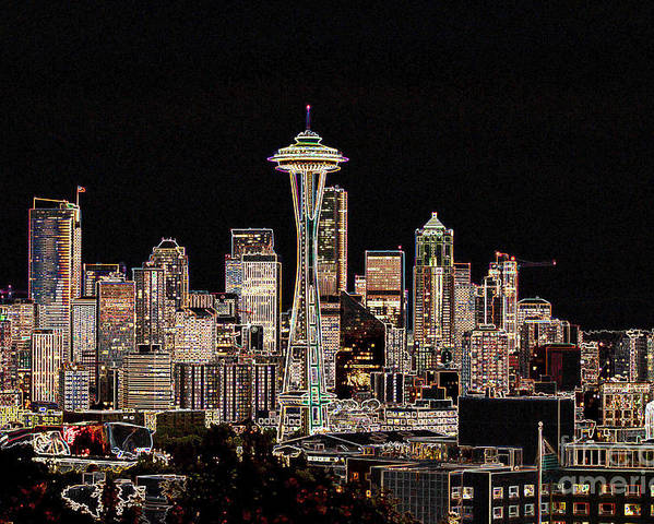 Colorful Poster featuring the photograph Seattle A Glow by Larry Keahey