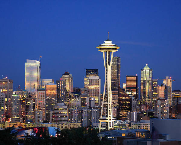 3scape Photos Poster featuring the photograph Seattle At Dusk by Adam Romanowicz