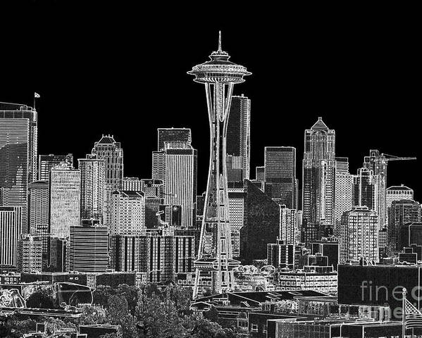 Black And White Poster featuring the photograph Seattle Black And White by Larry Keahey