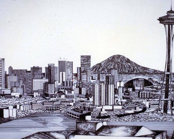 Seattle Poster featuring the drawing Seattle Skline by Tammera Malicki-Wong