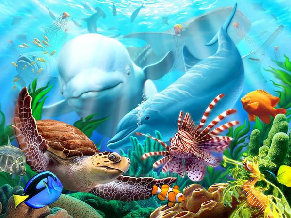Beluga Whale Poster featuring the digital art Seavilians by Jerry LoFaro