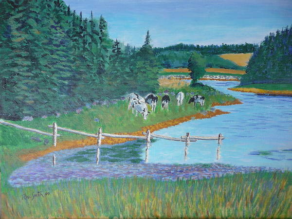 Landscape Poster featuring the painting Second Peninsula Cows by Rae Smith