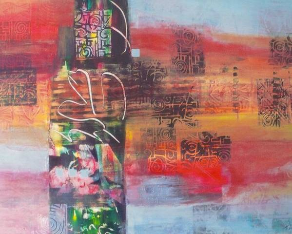 Abstracted Landscape Poster featuring the painting Secrate Strata by Miriam Pinkerton