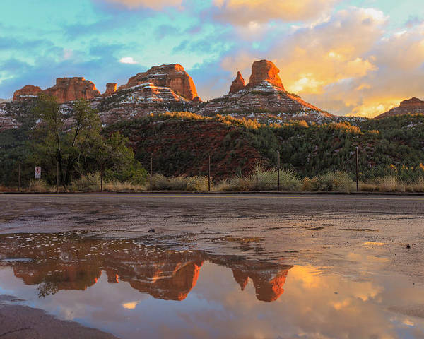 Rock Poster featuring the photograph Sedona Reflections by Robert Aycock