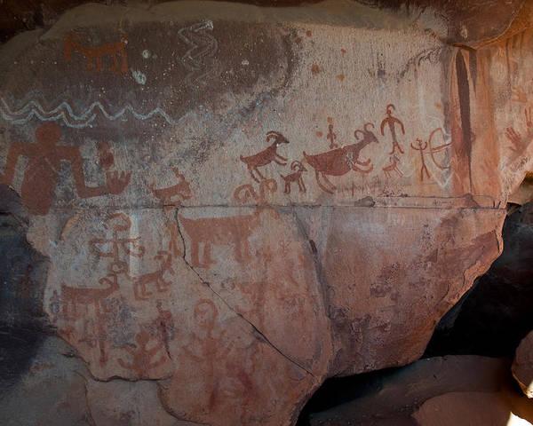 Native American Rock Art Poster featuring the photograph Sedona Rock Art Panel by David Sunfellow