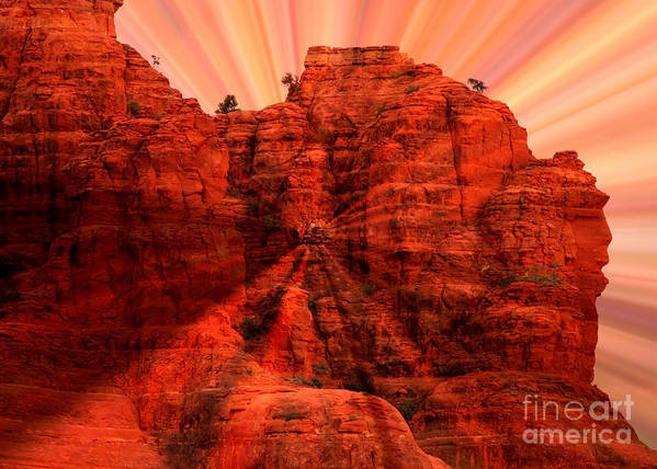 Sedona Poster featuring the photograph Sedona Sunset Energy - Abstract Art by Carol Groenen