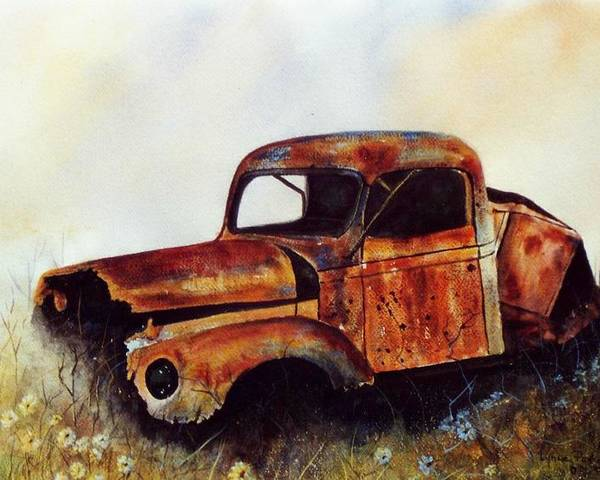Old Rusty Car Poster featuring the painting Seen Better Days by Lynne Parker