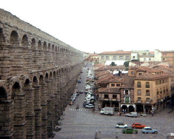 Segovia Poster featuring the digital art Segovia Aquaduct by Al Blackford