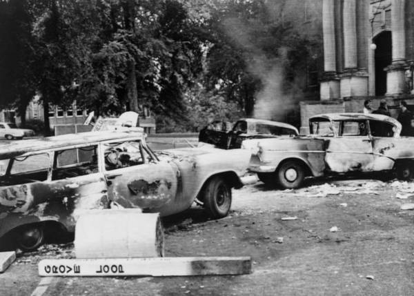 History Poster featuring the photograph Segregationist Riot At Old Miss. Burned by Everett