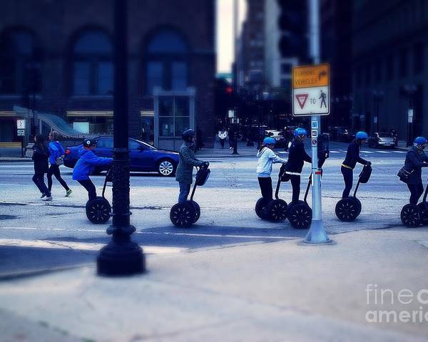 Frank-j-casella Poster featuring the photograph Segway - City Of Chicago by Frank J Casella